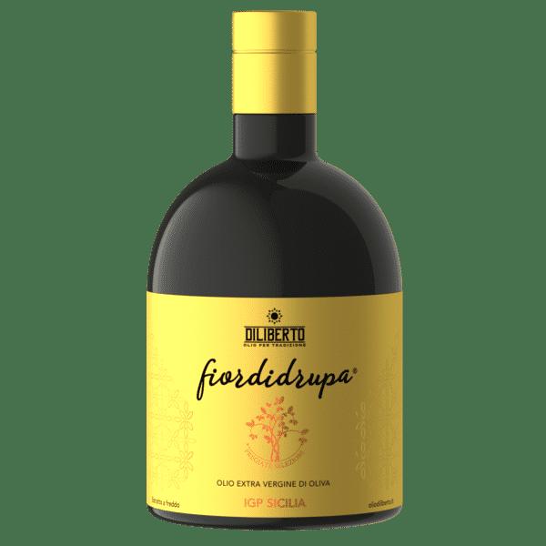 Una bottiglia di olio Fiordidrupa IGP Sicilia da 500 ml