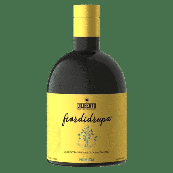 Una bottiglia di olio Fiordidrupa Primizia da 500 ml