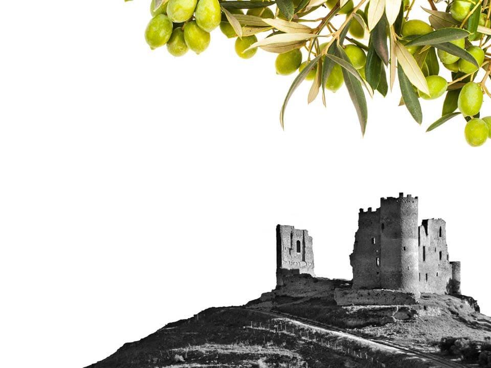 castello di mazzarino con cornice di olive